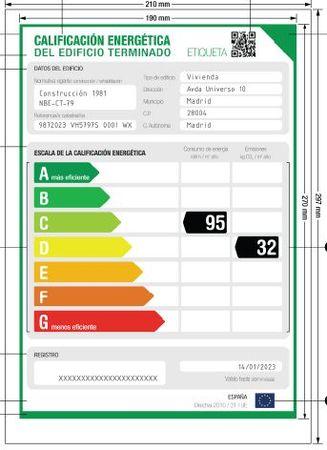 etiqueta oficial certificado energetico